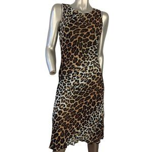 HOBBS Crepe Viscose Leopard Sleeveless Shift Dress
